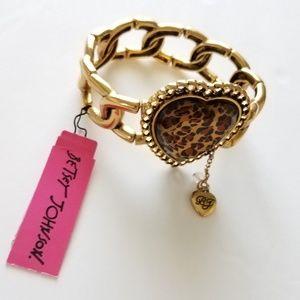 Betsey Johnson• Leopard Print Gold Bracelet